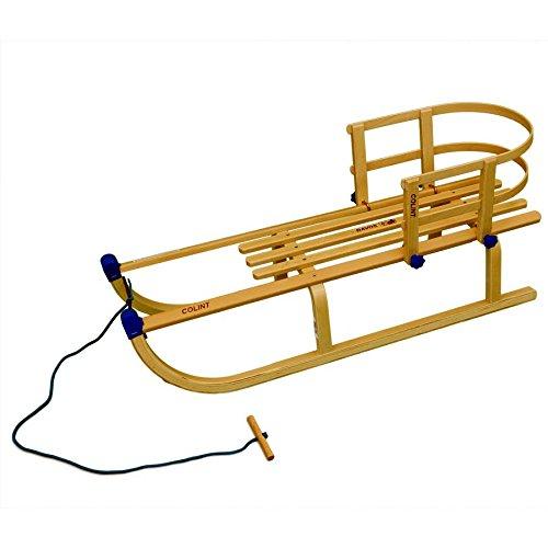 Rix Holzschlitten Davos 100 cm, Set mit Lehne und Leine