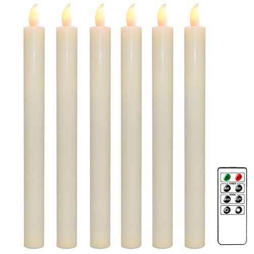 Wondise Flameless Window Taper Candles with Remote and Timer, Battery Operated Ivory Unscented Wax LED Flickering Taper Candle Amber Yellow Christmas Home Decoration(Set of 6, 0.78 x 9.64 Inches)