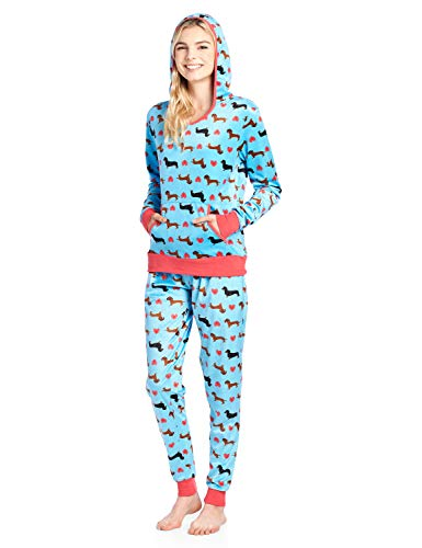Ashford & Brooks Women's Mink Fleece Hoodie Pajama Set - Turquoise Dachshund Dog Lover - X-Small