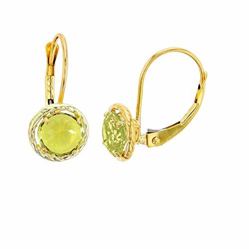 - 14K Yellow Gold 6mm Round Lemon Quartz Center Stone Rope Frame Leverback Earring