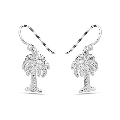 (925 Solid Sterling Silver Dangling Small Palm Tree Earrings - Dangle Nature Tiny Hypoallerenic Jewelry)