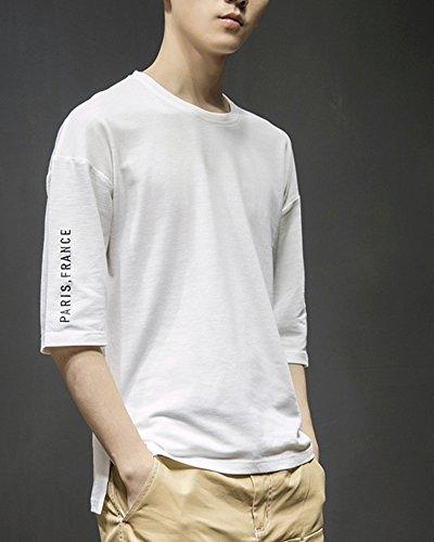 Gobuye Tシャツ メンズ Tシャツ 七分袖 五分袖 メンズ ストライプ ボーダー 七分袖 メンズ tシャツ 夏 夏服 Tシャツ 夏季対応 おしゃれ 702