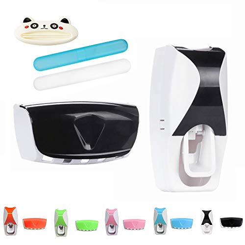 Inovare Designs Toothbrush Holder Automatic Toothpaste Dispenser Set Dustproof with Super Sticky Suction Pad Wall Mounted Kids Hands Free Toothpaste Squeezer for Family Washroom Bathroom (Black)