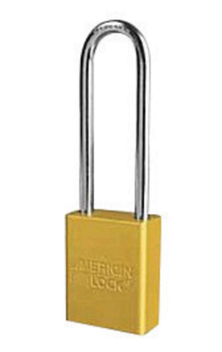 American Lock Yellow 1 1/2'' X 3/4'' Aluminum Safety Lockout Padlock With 1/4'' X 3'' X 3/4'' Shackle (6 Locks Per Set, Keyed Differently) - 1 Each