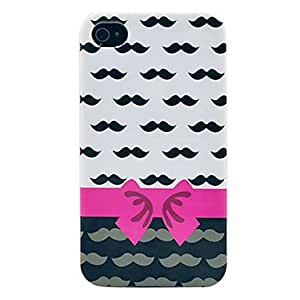 Bowknot & Mustache Soft Imd TPU Case for iPhone 4/4S