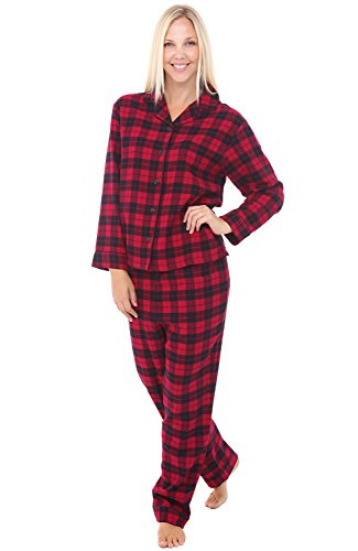 Plus Size Flannel Pajamas - Alexander Del Rossa Womens Flannel Pajamas, Long Cotton Pj Set, 2X Red and Black Tartan Plaid (A0509Q422X)