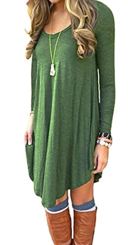 Women's Dress Long Sleeve Stretch Solid A-Line Short Tunic Dresses Army Green S