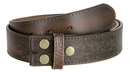 Men's Vintage Look Distressed Leather Strap Belt Snap On (L, Dark Brown)