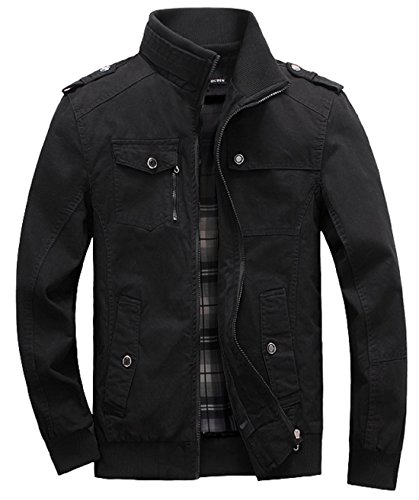 Lejckea Men's Muti-Pockets Cotton Stand Collar Jackets and Coats(L Size,Black) by Lejckea