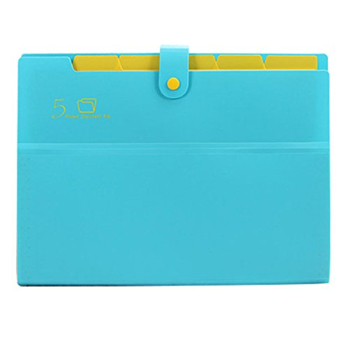 Kobest 5 Pockets Expanding file folder Accordion document Organizer,A4 Size and letter with bouton closure For School and Office uses (Blue)