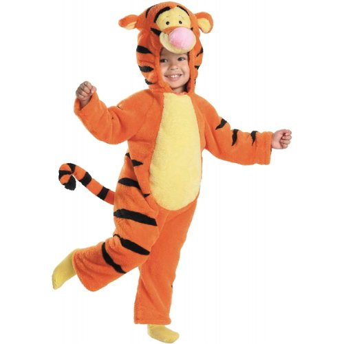 Tigger Deluxe Two-Sided Plush Jumpsuit Costume - Medium (Tigger Costume Toddler)