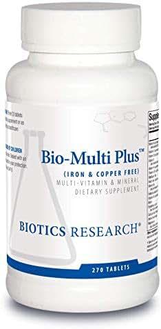 Biotics Research Bio-Multi Plus ™ (Iron & Copper Free) - Multivitamin, Chelated Minerals, Emulsified Fat-Soluble Vitamins, Iron Free, Copper Free, High antioxidants, SOD, Catalase 270ct