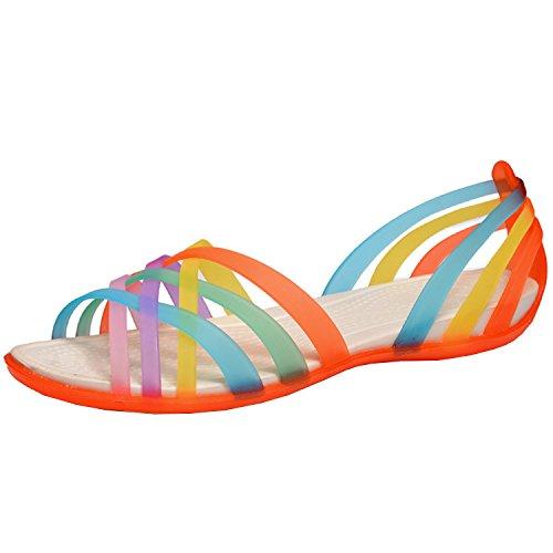 Azbro Mujer Sandalias Gelatina Planas Slip-on con Correas de Multicolores Naranja