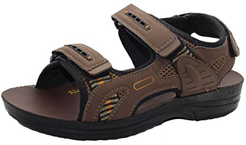 Mens Touch Fastener Sandals Summer Hiking Trail Strap Shoes Brisbane-Brown 6BC3nVy