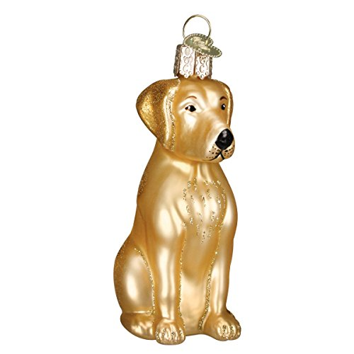 Old World Christmas Ornaments: Yellow Labrador Glass Blown Ornaments for Christmas - Old World Family Ornament Christmas