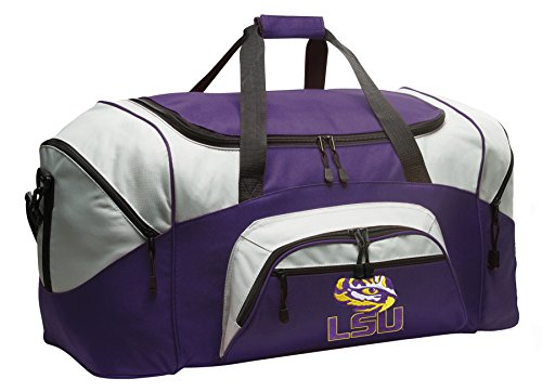 Large LSU Tigers Duffle Bag LSU Gym Bags Purple by Broad Bay