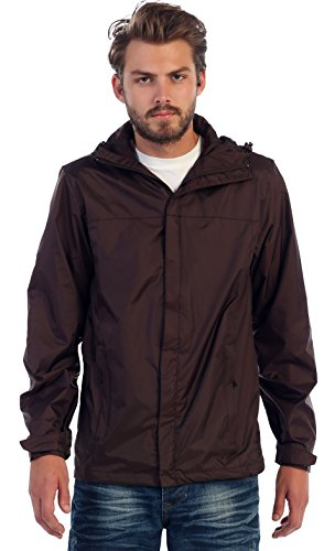 Gioberti Men's Waterproof Rain Jacket, Brown, M