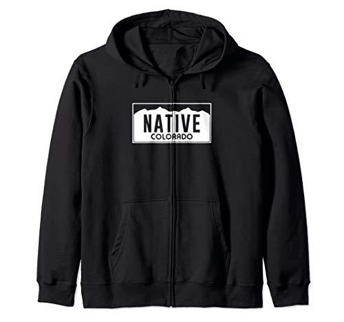 (Colorado Native License Plate Design (white)- Colorado Zip Hoodie )