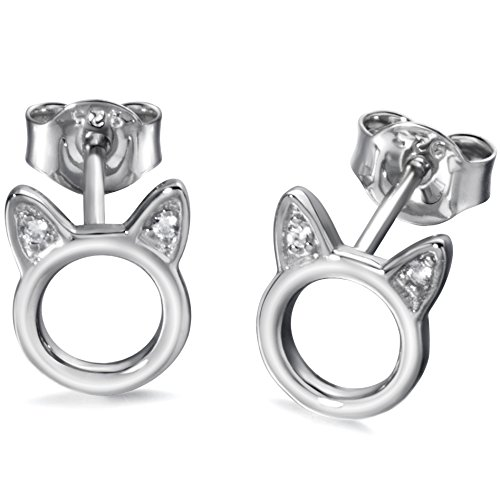 (Meow Star Cat Stud Earrings Sterling Silver Cat Earrings for Women)