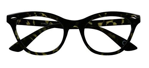 Basik Eyewear - Super Trendy Squared Off Sleek Clear Lens Cat Eye Fashion Glasses (Smoke Tortoise Frame, Clear Lens)