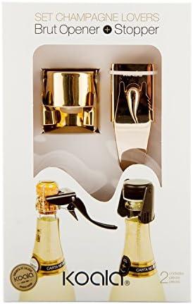 Koala Abridor, Sacacorchos De Botellas Champagne Y Tapon Hermeticoset Champagne Y Bomba Vacío Abridor Champagne Y Tapón Hermético, Oro (Set De 2 )