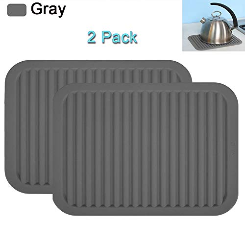 Spoon Rest Trivet - HOODO Silicone Rubber Trivet Mat 9 x 12 inch Big Size Multi-purpose Silicone Pot Holders, Spoon Rest and Kitchen Table Mat Heat Resistant Table Dish Drying Mat Placemats (2 Pack) Gray