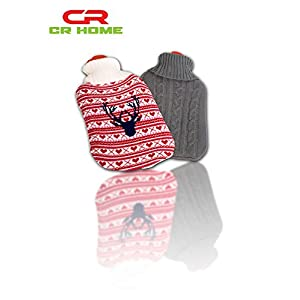 Hot Water Bottle with Cover - Knit Gray - Stays Warm All Night & Eases Back Pain -Thermoplastic 2L
