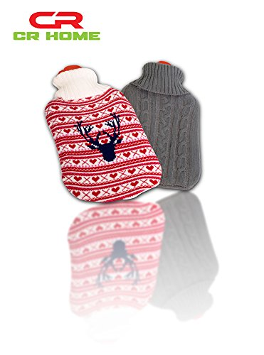 Learn More About Hot Water Bottle with Cover - Knit Red Winter Themed - Stays Warm All Night & Eases...