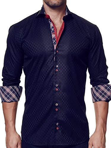 Maceoo Mens Designer Dress Shirt - Stylish & Trendy - Mini Panam Square Black - Tailored Fit (Cotton Collar Italian Shirt Dress)