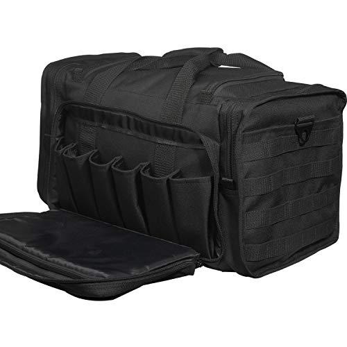 SoarOwl Tactical Shooting Range Bag Waterproof Pistol Range Duffle Bags with Lockable Zipper and Heavy Duty Antiskid Feet Updated(Black)