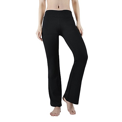Melory Women's High Waist Bootleg Yoga Pants Tummy Control Trousers Women Sports Jersey Training Leggings, Black, Large (Jersey Black Trousers)