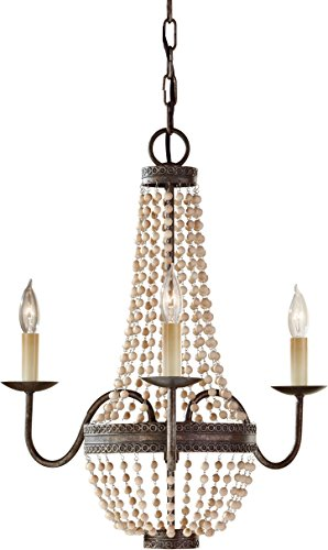 (Feiss F2755/3PBR Charlotte Crystal Bead Mini Chandelier Lighting, Bronze, 3-Light (19