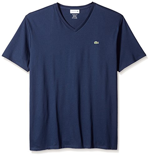 Lacoste Men's Short Sleeve V-Neck Pima Cotton Jersey T-Shirt, Navy Blue, XX-Large ()