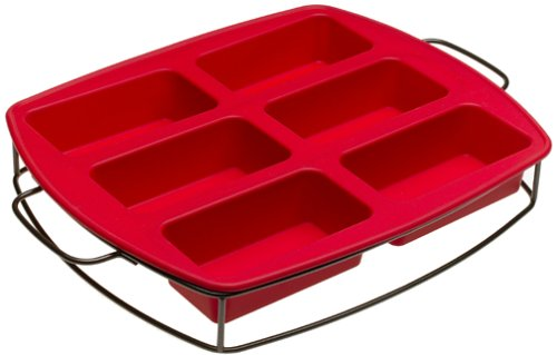 KitchenAid Silicone 6-in-1 Loaf Pan with Sled, Red