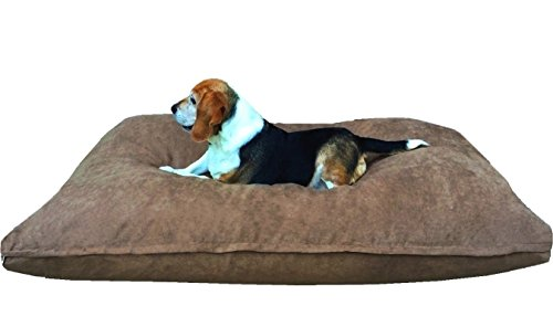Dogbed4less Medium Memory Foam Dog Bed Pillow with Orthopedic Comfort, Waterproof Liner and Brown Microsuede Pet Bed Cover 37X27 Inches