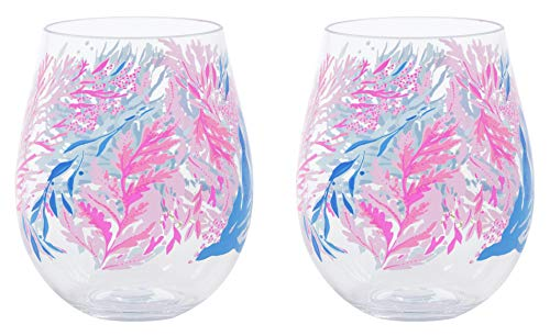 Lilly Pulitzer Acrylic Stemless Wine Glass Set of 2, 16 Ounces, Kaleidoscope Coral