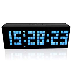 m·kvfa Multi-Function Remote Control Luminous Digital Timer 6-bit 5 Segment LED Clock Desktop Table Clocks Low Power Consumption for Airport Exhibition Hall Office Hospital Hotel (Blue)