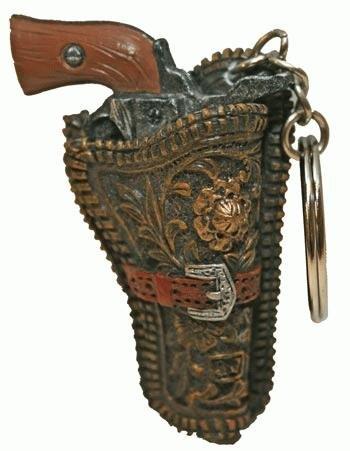 Western Holstered Gun Keychain, 2-inch