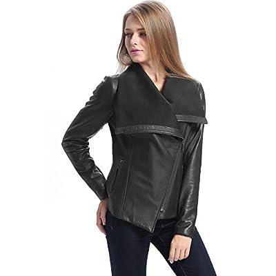 BGSD Women's Lily Lambskin Leather Drape Jacket (Regular & Plus Size) at Women's Coats Shop