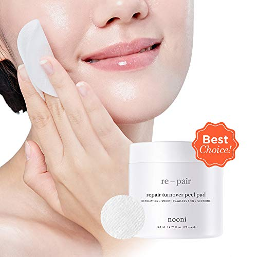NOONI Advanced Repair Therapy Radiance Peel Pads 70pcs, 4.73 Ounces, Acne Control, Skin Exfoliation, Dead Skin Cells Care, Exfoliating Cotton Pad, Korean Skin Care, Moisturizing and Deep Cleansing