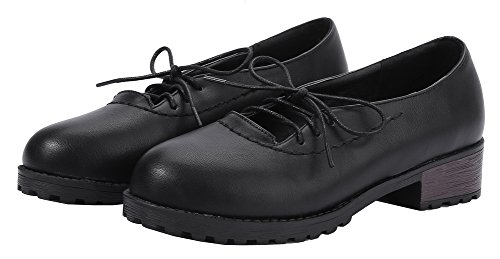 AllhqFashion Womens PU Solid Lace-Up Round-Toe Low-Heels Pumps-Shoes Black mWPUkkax2K