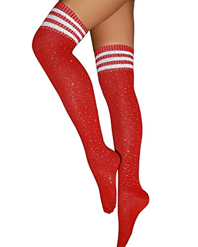 - Over Knee High Socks Women's Stay Ups Stockinks Sexy Sparkle Rhinestone Tights