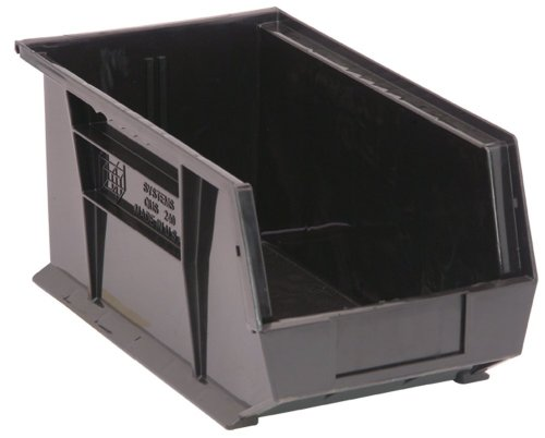 Quantum QUS240 Plastic Storage Stacking Ultra Bin, 14-Inch by 8-Inch by 7-Inch, Black Recycled, Case of 12 by Quantum Storage Systems