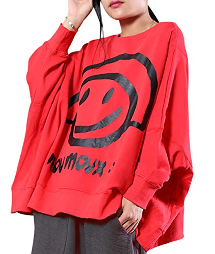 YESNO WN6 Women Casual Loose Sweatshirt Plus Size Pullover Tops Cute Smile Face Printed Crew Neck Long Sleeve (One Size, Red)
