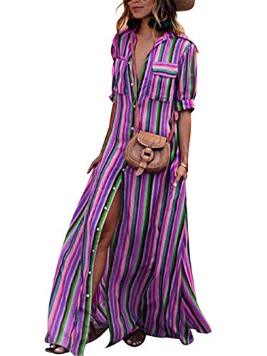 Festnight Womens Rainbow Loose Button Down Stripes Dress Plus Size Half Sleeve Boho Maxi Long Dress with Pockets