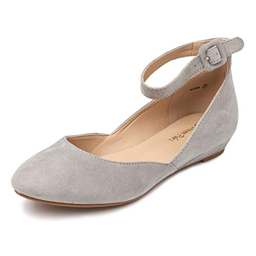 DREAM PAIRS Women's Revona Grey Suede Low Wedge Ankle Strap Flats Shoes - 5.5 B(M) US