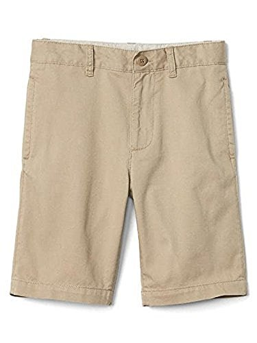 GAP Kids Boy Khaki School Uniform Flat Front Shorts Size 10 Regular Adjustable Waist (Gap Button)