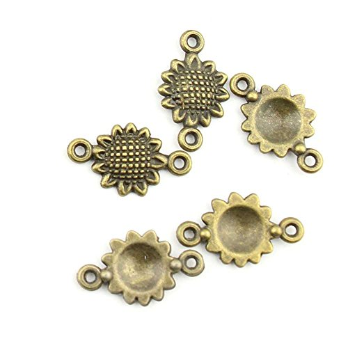 (20 Pieces Jewelry Making Charms Sunflower Connector pendant wholesale supplies repair)