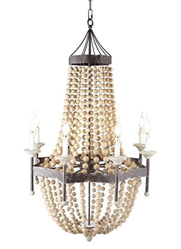 8-Light Scalloped Wood-Bead Chandelier Wooden French Country Chateau Antique Rustic Distressed Metal Frame (Dia 30″) For Sale