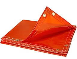Steiner 338-6X10 ArcView 14 mm Flame Retardant Orange Tinted Transparent Vinyl Welding Curtain, 6\' x 10\'